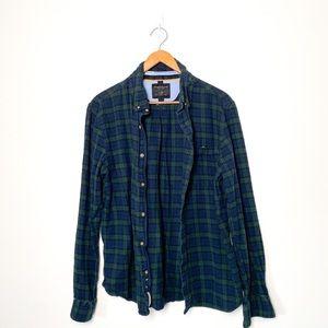 Men's Denim & Flower Plaid Button Up Shirt